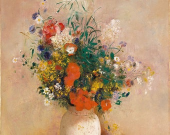 "Odilon Redon : ""Vase of Flowers (Pink Background)"" (c. 1906) - Giclee Fine Art Print"