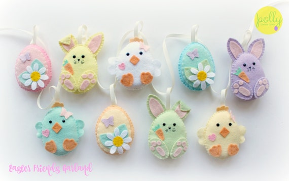 Make Your Own Felt Easter Friends Garland Kit. Easter Decorations. Sewing  Pattern. Easter Gifts. Easter Tree. Felt Garland.