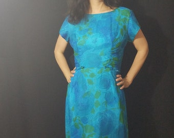Vintage late 50s Dress/  Floral Wiggle Dress/ AS IS/ Bust 42
