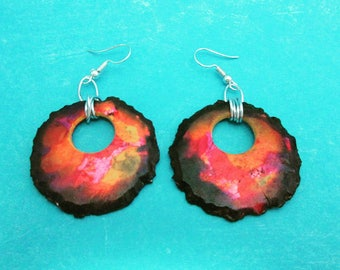 Organic and vibrant polymer clay earrings with alcohol inks