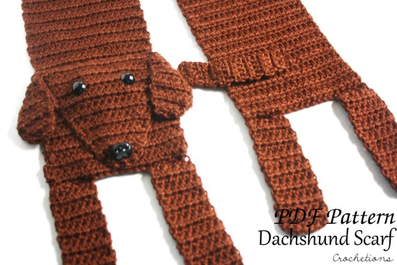 Amigurumi Wiener Dog Pattern : Crochet pattern dachshund scarf dog breed scarf puppy
