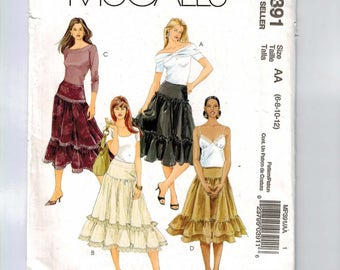 Misses Sewing Pattern McCalls MP391 Misses Tiered Bohemian Skirt Size 6 8 10 12 Waist 23 24 25 26 UNCUT  99