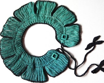 Turquoise Green Blue Light Emerald Color Statement Collar Crochet Necklace with Black Leaf Ties and Howlite Stone Beads