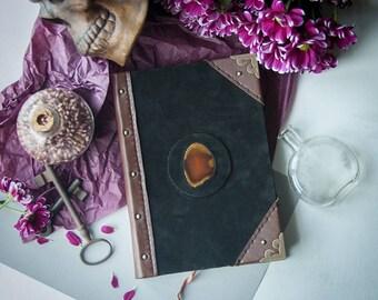 Agate slice handmade journal, grimoire, sketchbook, spellbook, book of shadows, witchcraft, wicca, pagan, magic