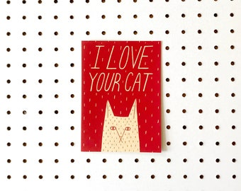 Screenprinted Valentines Card - I Love Your Cat