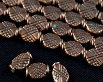 """WHOLESALE - Antique Copper 10x8mm Flat Oval Crisscross Design Pewter Beads (8"""" strand)"""