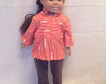 """DO18- 18"""" Doll Clothes: Two piece outfit with strertch pants and zipper front top"""
