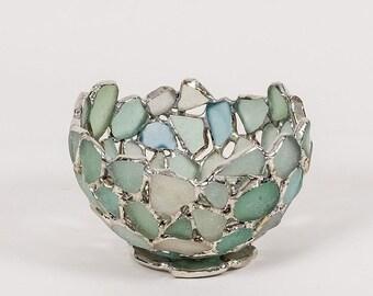 Sea Glass Bowl Hand Sized , Seafoam, Blue and White. English Beach Glass, Sea Glass Art , Stained glass