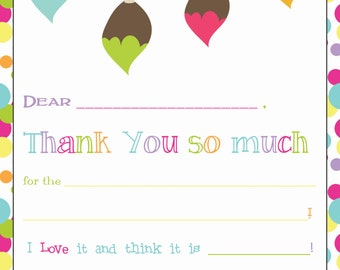 Paint Themed Fill-in-the-Blank Thank You Notecards