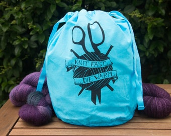Knit Fast Die Warm wool project bag: Large, in Ice Cold Blue