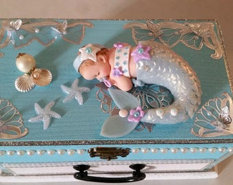 Music box baby blue Mermaid - at the heart of the arts