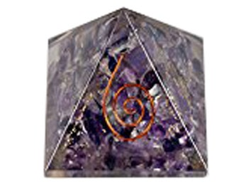 Amethyst Orgone Pyramid Crystal Therapy Crystal Gemstones Copper-2 inch by WholesaleGemShop with Free Shipping