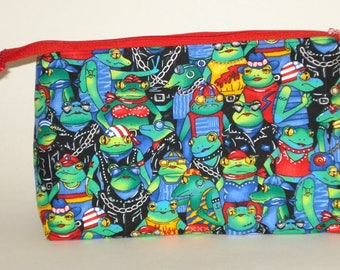 SUPER Cute MOTORCYCLE FROGS 100% cotton fabric Cosmetic Bag, gift bag with full width opening and nylon zipper closure