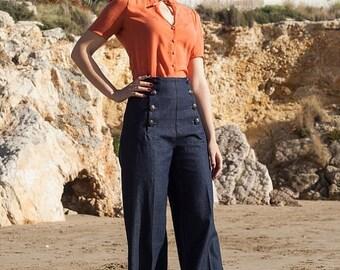 SAILOR DENIM PANTS, high waist, 1940's style swing pants