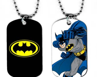 DOG TAG NECKLACE - Batman 2 Bruce Wayne Superhero Comic Book Art