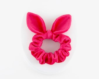 Knot Bow Scrunchie Soft Hair Tie, Pink