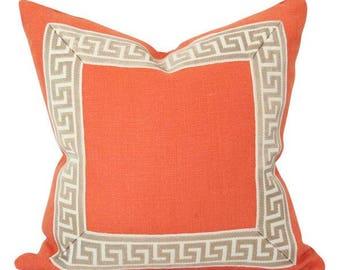 Orange Linen with Greek Key Border Designer Pillow Cover