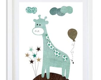nursery Art, Nursery decor, giraffe art print, kids room art, wall art, baby nursery, balloons, Stars, blue, brown- 1 little balloon
