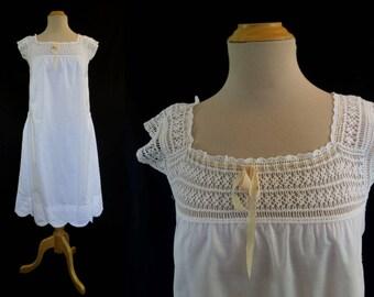 Vintage Slip, Petticoat, Dress With Crochet Yoke - 1910s,1920s Vintage - Bust 81-86 cm