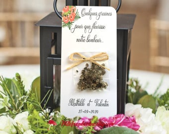 Cards seed packets of flower for wedding floral motif with customizable text and satin or raffia bow
