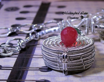 Wish Basket Pendant in Sterling and Fine Silver