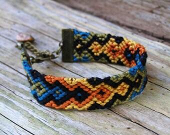 Jasper bracelet, American indian jewelry, Chevron bracelet, Gem stone, Colorful zigzag, Boho teal green woven cotton, Ethnic fiber geo ikat