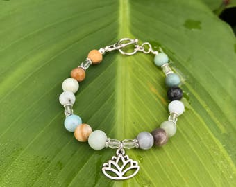 Lotus Bracelet, Amazonite Bracelet, Crystal Healing, Yoga, stress relief, relaxing jewelry, zen jewelry, relaxation, good vibes, vegan, love