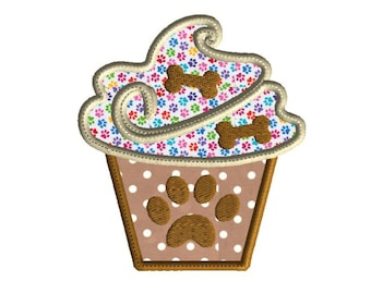 Embroidery Design, Puppy cupcake,  machine embroidery, applique,  3 size design,  paw print and dog bones embellishment