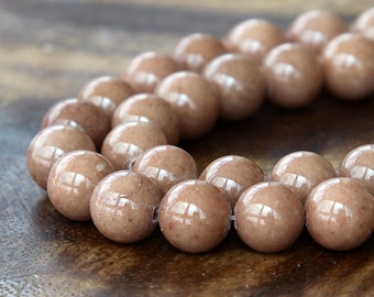 Mountain Jade Beads, Light Cocoa, 8mm Round - 15 Inch Strand - eMJR-N27-8