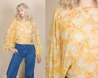 70s Sheer Floral Batwing Blouse - One Size // Vintage Boho Ruffle Top