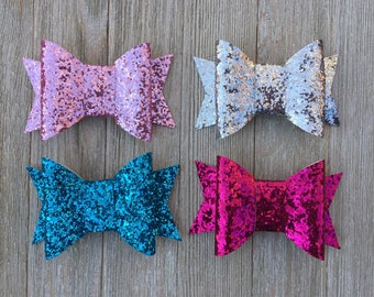 Hair Bows,Glitter Hair Bows,Sparkle Hair Bows,Set of 4,French Barrettes Bows,Birthday Party Favors