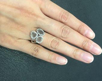 Diamond slice ring, diamond slice and white gold ring, diamond slice and gold ring,  engagement ring, wedding ring