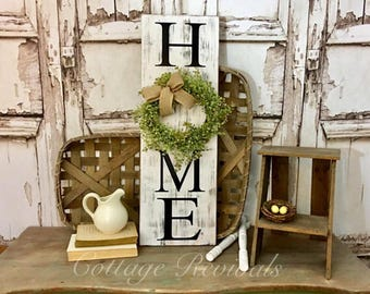 Vertical HOME sign Distressed Vertical Home Sign with Wreath Sign with Wreath 10x30 Wreath Sign HOME sign Farmhouse Decor