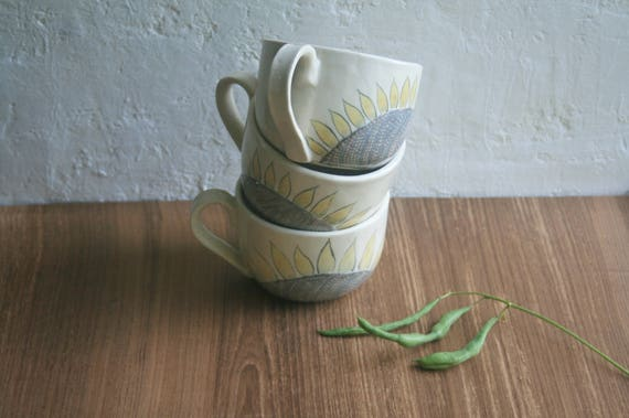 Soup Mug Soup Bowls with Handles Large Cup Sunflower Cup