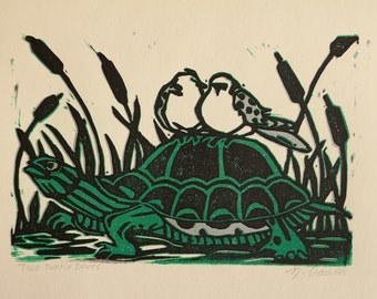 Two Turtle Doves- Hand printed lino christmas card