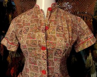 SALE L 50s Cotton Novelty Print Dress with Fancy Back