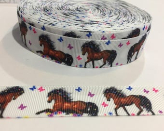 3 Yards of Ribbon 7/8 inch Wide - Pretty Horses with Butterflies