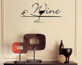 Wine Glass Wall Decal Kitchen Decor Wine Decal Diy Home Decor Kitchen Wall Decor Kitchen Wine Decor