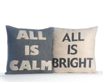 "NEW! throw pillows, decorative pillows, ""All is Calm / All is Bright"" 16X16 inch pillow set, holiday pillows, NEW!"