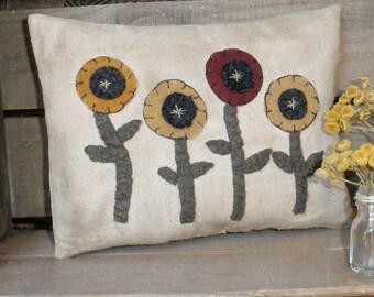Flower Garden Pillow PDF E Pattern Sewing Applique