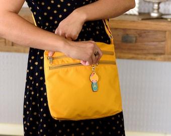 Crossbody Bag, Canvas Handbag, Cross Body Bag, Women's Everyday Bag, Over Shoulder Bag, Fabric Handbag, Hipster Shoulder Bag, Gift For Her