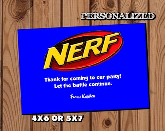 Nerf Thank you Card,Nerf Birthday,Nerf Party,Thank You Card Birthday Party,Nerf Birthday,Dart Gun Thank you Card,-LS01