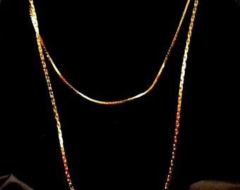 Napier Double Chain Necklace, Gold Tone Two Chain Necklace, Signed Napier Necklace, Christmas Gift, Gift For Her