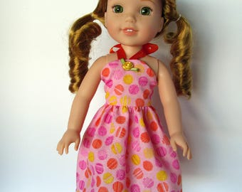 Handmade 14.5 inch Doll clothes- Pink, Orange, and Yellow Polka dotted Sundress made to fit 14.5 inch dolls such as Wellie Wishers