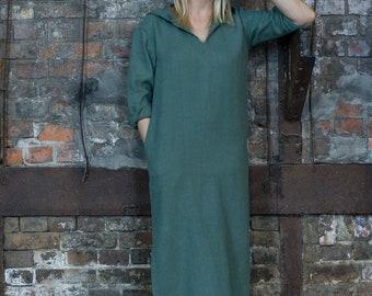Women's olive hooded linen caftan, women's kaftan, womens linen robe, linen homewear, linen beachwear, long dress, womens linen dress