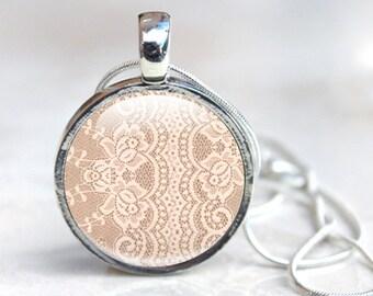 Lace Necklace -  Lace Photo necklace -  Glass Lace Necklace - Lace Picture Necklace