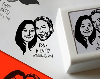 Personalized gift Save the date / Custom portraits invitations / Stamp box / couples' art valentine's gift stamp gift self inking thank you