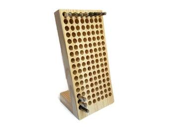 """X-Large 5/8"""" Angled metal stamp holder, metal stamp organizer, wooden metal stamp block, Alphabet stamp holder, custom metal stamp holder"""