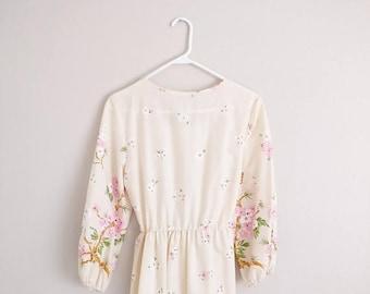 50% OFF Vintage 1970s Boho Floral Maxi Dress/70s Dress/Medium Large
