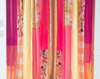 Bohemian Sunrise* Bohemian curtains Gypsy patchwork curtains Boho panels Silk Velvet pink